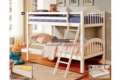A.M.B. Furniture & Design :: Bedroom furniture :: Bedroom Sets :: Bunk Bed Sets :: Coney Island III White Wood Finish Twin over Twin Bunk Bed with Front Access Angled Ladder