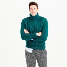 J.Crew | Green Italian Wool Cable Turtleneck Sweater for Men | Lyst