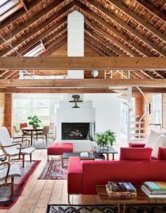 Modern Style | Wooden Beams | Red Sofa | A-Frame House | Residential Architecture | Home Ideas | Interior Design