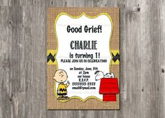 Charlie Brown Birthday Invitation - Snoopy - Rustic - Burlap - FOR ALL AGES, Birthday Invitations, 1st Birthday Invites. Boy Birthday Invite