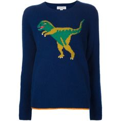 Coach Intarsia Dinosaur Jumper (17.760 CZK) ❤ liked on Polyvore featuring tops, sweaters, blue, blue top, cashmere jumpers, colorful tops, blue jumper and jumpers sweaters