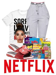 """Netflix"" by ballislife ❤ liked on Polyvore featuring Moschino and NIKE"