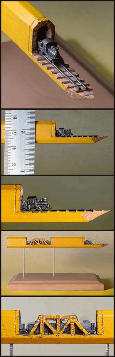This recent piece by Nebraska-based artist Cindy Chinn is particularly ingenious, an entire carpenter's pencil is turned into a tiny train, trestle, and bridge.