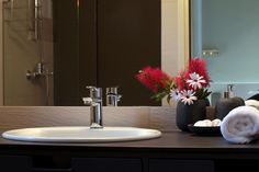 View the interior of a Casa Kalypso suite / Allonissos Decor, Bathroom Lighting, Interior, Suites, Lighted Bathroom Mirror, Home Decor, Bathroom Mirror, Light, Mirror