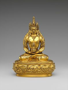 Seated Amitayus Date: 17th–18th century Culture: Mongolia Medium: Gilt bronze