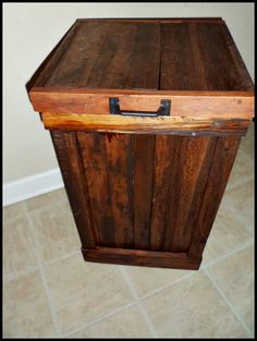 Rustic Wood Trash Can, Oak And Walnut Garbage Can, Kitchen Trash, Wood  Garbage