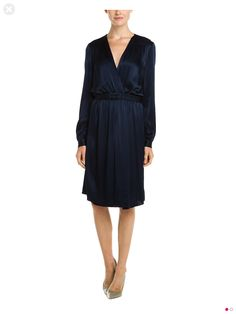 L'Agence Navy Silk Wrap Dress