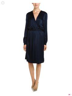 L'Agence Navy Silk Wrap Dress