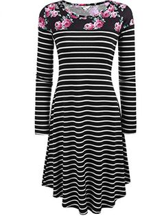 bf50783fa5d8 online shopping for Halife Women's Casual Floral Print Long Sleeve Striped Tunic  Swing T-Shirt Dress from top store. See new offer for Halife Women's Casual  ...