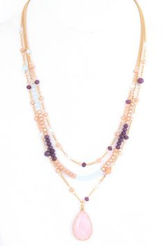 Semi precious stone teardrop and glass beads necklace