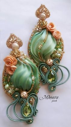 """Chinese Spring"" earrings - Sage Green Shibori Silk & Soutache designed by Mhoara Jewels Ribbon Jewelry, Soutache Jewelry, Jewelry Crafts, Beaded Jewelry, Shibori, Handmade Beads, Handcrafted Jewelry, Motifs Perler, Fabric Beads"