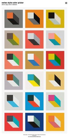 I picked this one because I liked the geometric patterns and color combos and I think it would be cool to use for a folio or module design Graphisches Design, Swiss Design, Book Design, Colour Pallete, Color Schemes, Colour Combinations, Color Palettes, Design Typography, Lettering