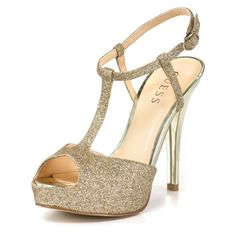 "GUESS ""Amity"" T-Strap Sandals ($68) ❤ liked on Polyvore featuring shoes, sandals, heels, pumps, shoesboutiquesnew arrivals, high heel ankle strap shoes, high heel sandals, t strap sandals, guess footwear and ankle strap sandals"