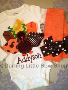 Newborn Baby Girl Thanksgiving Outfit  by DarlingLittleBowShop, $43.95