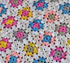 white crochet granny squares