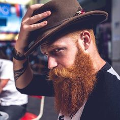 Gwilym Pugh tipping his hat - full thick long bushy red beard and huge mustache beards bearded man men mens style hats redhead ginger Ginger Men, Ginger Beard, Ginger Snaps, Great Beards, Awesome Beards, Beard Styles For Men, Hair And Beard Styles, Moustaches, Hipsters