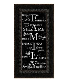 Another great find on #zulily! 'Family' Framed Wall Art #zulilyfinds