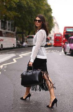 Fringe Midi Skirt And Crochet Top 2017 Street Style