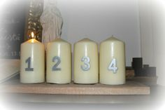 Advent candles. Candles from Ikea, numbers from Hemtex.