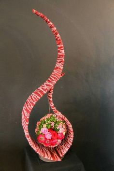 Abstract floral art design using wool