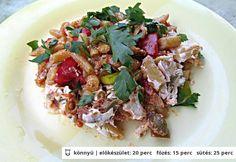 Csőben sült zöldbab juhtúróval és kolbásszal