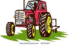 illustration of a vintage tractor done in woodcut style. #tractor #woodcut #illustration