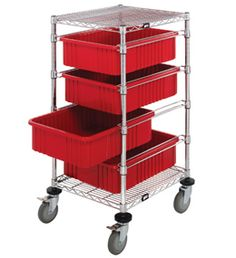 Quantum Storage Systems Wire Bin Cart with 4 Red Bins, Chrome Finish, Width x Length x Height Wire Shelving, Shelves, Warehouse Pallet Racking, Cat Stands, Racking System, Storage Solutions, Storage Systems, Kitchen Cart, Chrome Finish