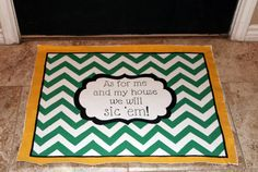 "Baylor Chevron canvas floormat with ""As for me and my house we will sic 'em!"""