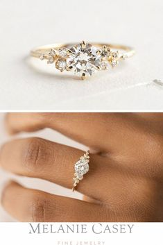 Natural Diamond Flower Engagement Ring in Two Tone Gold Inspired by Nature Branch Ring Un. - Natural Diamond Flower Engagement Ring in Two Tone Gold Inspired by Nature Branch Ring Unique B - Dream Engagement Rings, Engagement Ring Settings, Vintage Engagement Rings, Vintage Rings, Gold Diamond Wedding Band, Diamond Rings, Diamond Flower, Gold Wedding, Dream Wedding
