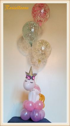 Unicorn from balloons Unicorn Birthday Parties, First Birthday Parties, 3rd Birthday, First Birthdays, Birthday Ideas, Pony Party, Party Fiesta, Unicorn Baby Shower, Bday Girl