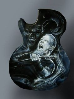 Custom Airbrushed Guitar of James Hetfield from Metallica - Painted by Mike Lavallee of Killer Paint - www.killerpaint.com