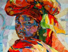 Out and About Africa - African Glass Mosaic of an Ethiopian woman by - Carol Shelkin