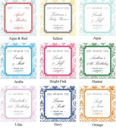 12 Wedding Favors // Damask Design Personalized Favor Boxes - ANY COLOR - party favors, baby shower favors, bridal shower favors