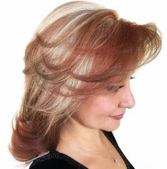 Medium Layered Hairstyle With Bangs Medium Shag Hairstyles, Quick Hairstyles, Unique Hairstyles, Hairstyles With Bangs, Blonde With Red Highlights, Medium Hair Styles, Short Hair Styles, Fall Hair Cuts, Silver Grey Hair