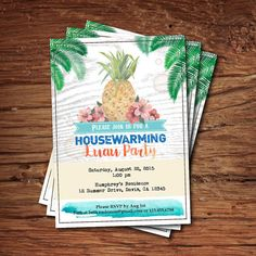 Housewarming party invitation. Rustic wood. Pineapple by CrazyLime