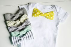 DIY Onesie with bow tie. Would make a cute present!