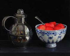 Jessica Brown. Still life with strawberries and silver Jersey cream jug