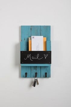 Mail Holder with Chalk Board and Hooks by DrakestoneDesigns on Etsy https://www.etsy.com/listing/228319132/mail-holder-with-chalk-board-and-hooks