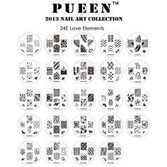 PUEEN 2013 Nail Art Stamp Collection Set 24E – AMOUR – ELEMENTS nouvel ensemble unique de 24 Nailart polonais Stamping Manucure image Plaques Accessoires Kit (totalisant 144 Images) avec étui de rangement nouvelle BONUS à la lumière de couleur bleue | Your #1 Source for Beauty Products                                                                                                                                                                                 Plus