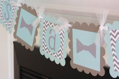 Grey Chevron and Baby Blue  It's a Boy or by DreamPartyPaperie