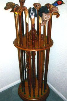 Walking Stick or Walking Cane Stand to hold 18 canes, in Oak.