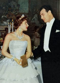 """""""Princess Shahinaz Pahlavi daughter of Empress Fawzia from the Shah of Iran in her wedding party from Ambassdor Ardeshir Zahedi in 1956"""