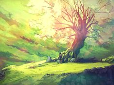 anime scenery tree forest warm colours light