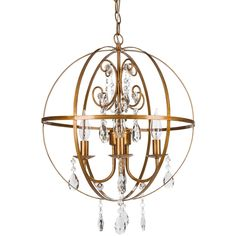 "- Dimensions of Orb Chandelier: 15"" (L) x 15"" (W) x 18"" (H) - Authentic K9 glass crystals (Not plastic or acrylic) - Wrought iron orb/sphere outer frame - Features 4 Lights, UL Listed (Uses 25 Watt Ca"