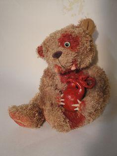 Undead Bearly Zombie OOAK Teddy Bear Take My by TheDarkerMoon, $68.00