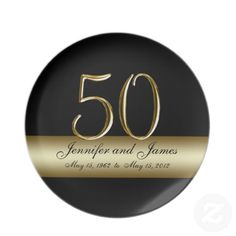 50th Golden Wedding Anniversary Damask Print Foil Banquet Plates x 18 Non Message