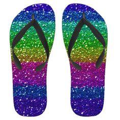 Graphic Rainbow Glitter Flip Flops