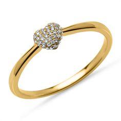 Ring 45 Diamanten 0,10 ct Herz 750er Gelbgold DR0080 http://www.thejewellershop.com/ #diamant #diamonds #heart #herz #ring #gold #gelbgold #schmuck #ringe #jewelry