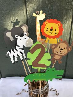 Zoo/Jungle/Safari animal centerpieces by PrettyLitteCreations on Etsy Zoo/Jungle/Safari animal centerpieces by PrettyLitteCreations on Etsy Safari Theme Birthday, Jungle Theme Parties, Wild One Birthday Party, Safari Birthday Party, Jungle Party, Animal Birthday, 1st Boy Birthday, Baseball Birthday, Baseball Party