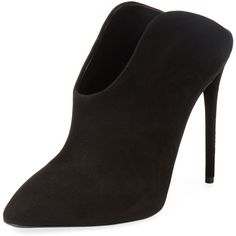 Giuseppe Zanotti Giuseppe Zanotti Women's Suede Pointed-Toe Bootie -... ($369) ❤ liked on Polyvore featuring shoes, boots, ankle booties, black, black bootie, black high heel booties, black pointed toe booties, suede ankle booties and short black boots
